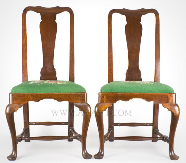 Pair of Queen Anne Side Chairs Boston Circa 1750 to 1760, entire view