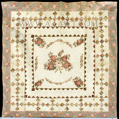 Antique Quilt, Broderie Perse, Mid 19th Century, entire view