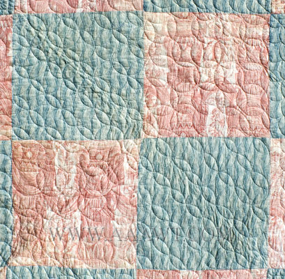 Antique Quilt, Red Linen Toile and Blue Print Cotton, detail view