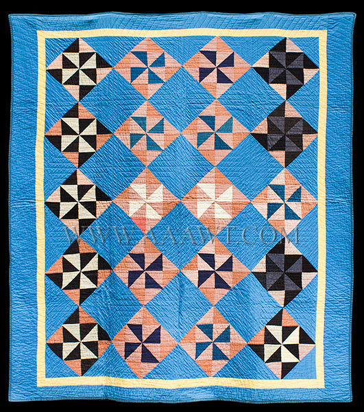 Antique Quilt, Amish, Pinwheel, 1930's, entire view