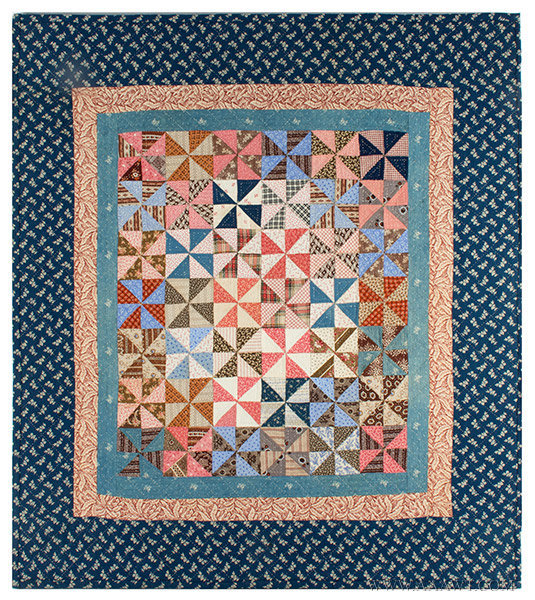 Antique Crib Quilt, Mounted for Display, Pennsylvania, Circa 1870, entire view