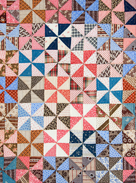 Antique Crib Quilt, Mounted for Display, Pennsylvania, Circa 1870, detail view