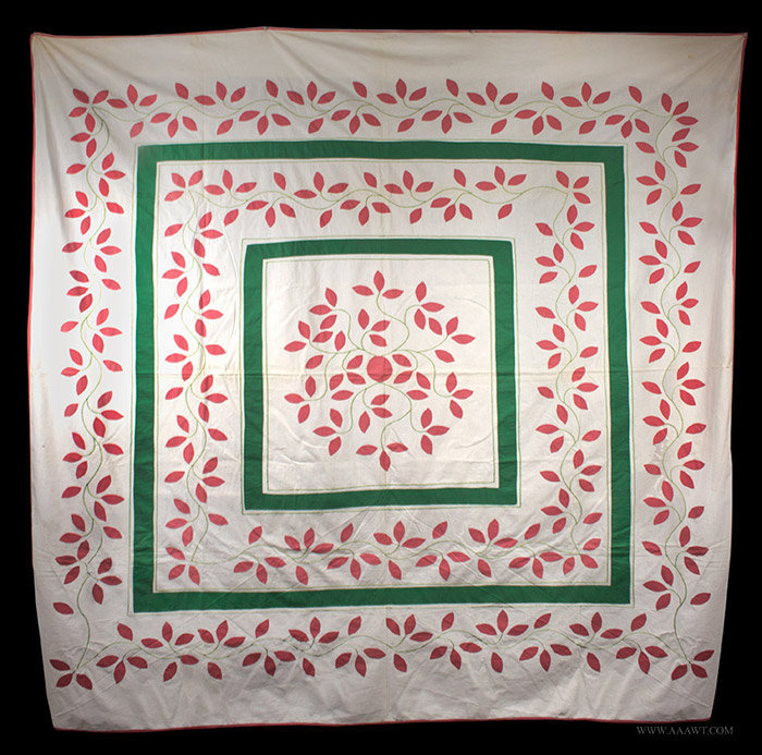 Antique Appliqued Summer Quilt Top, Leaf and Vine Pattern, entire view