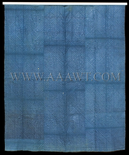 Antique Quilt, Linsey Woolsey, Indigo Blue color, diamond and floral motifs, entire view