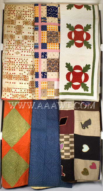 Antique Quilts, Group of Six, group entire view