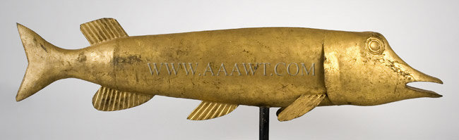 Antique Weathervane, Northern Pike Fish, Gilt Surface, right side view