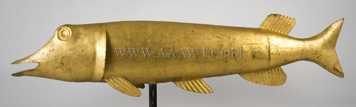 Antique Weathervane, Northern Pike Fish, Gilt Surface, left side view