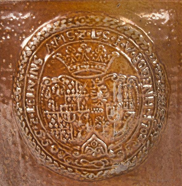 Raeren, Brown Salt Glazed Walzenkrug Pewter Mounted Tankard, City Seal, marks detail