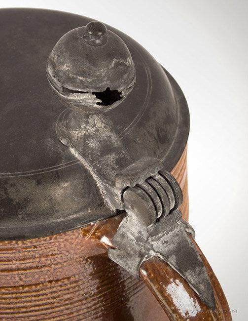 Raeren, Brown Salt Glazed Walzenkrug Pewter Mounted Tankard, City Seal, handle detail