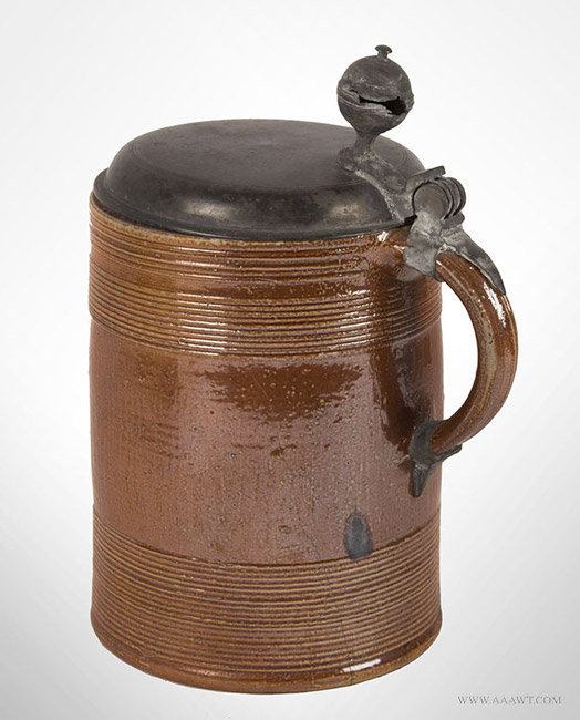 Antique Brown Salt Glazed Walzenkrug Pewter Mounted Tankard, Dated 1702, rear angle view