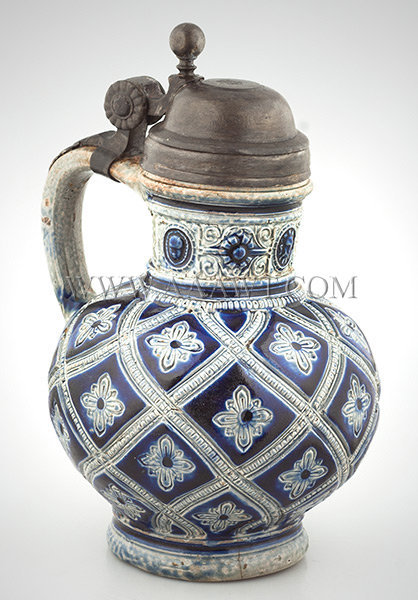 Salt Glaze Stoneware Jug, Pewter Mounted, Raeren    Germany (Until WWI)    Circa 1650, entire view
