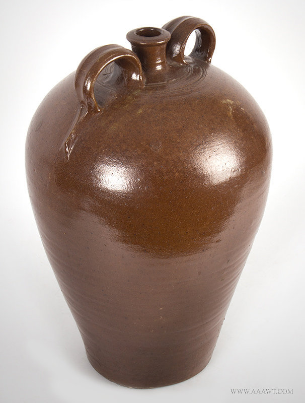 Antique Large Brown Stoneware Two Handle Jug, Impressed Swaine, 1820's to 1840's, angle view
