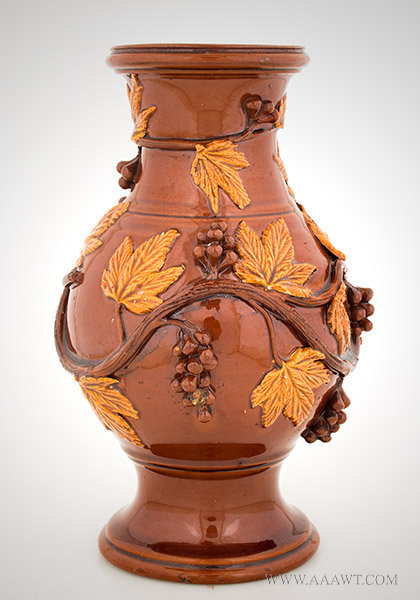 Antique Redware Jug/Vase with Applied Molded Vine and Berry Decoration, 19th Century, entire view