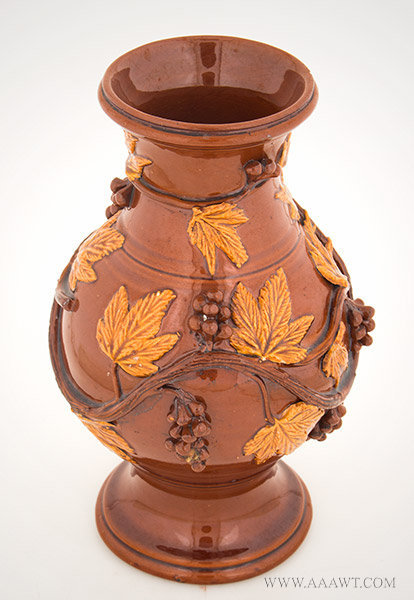 Antique Redware Jug/Vase with Applied Molded Vine and Berry Decoration, 19th Century, angle view