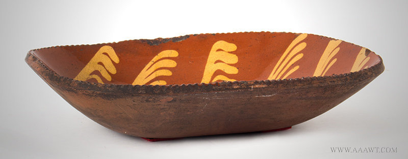 Antique Redware Loaf Dish with Yellow Slip Decoration, Pennsyvlania, Circa 1830, side view