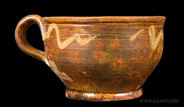 Antique Redware Porringer with Ribbed Handle and Footed Base, Circa 1800, side view 1