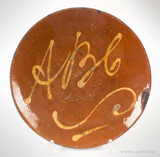 Antique Redware Plate with Yellow Slip Decorated ABC over Scroll, Connecticut, Circa 1820 to 1840, entire view
