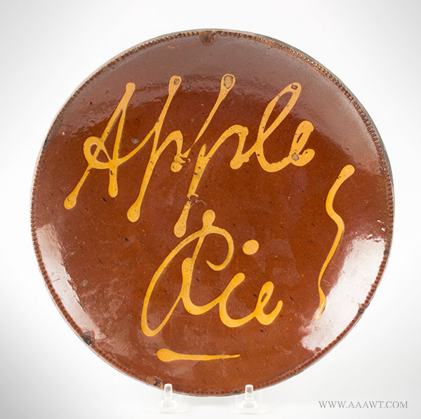 Antique Redware Plate with Yellow Slip Decoration Inscribed Apple Pie, Circa 1820 to 1840, entire view