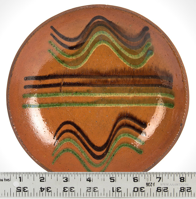 Antique Redware Dish with Green and Copper Maganese, Pennsylvania, 19th Century, with ruler for scale