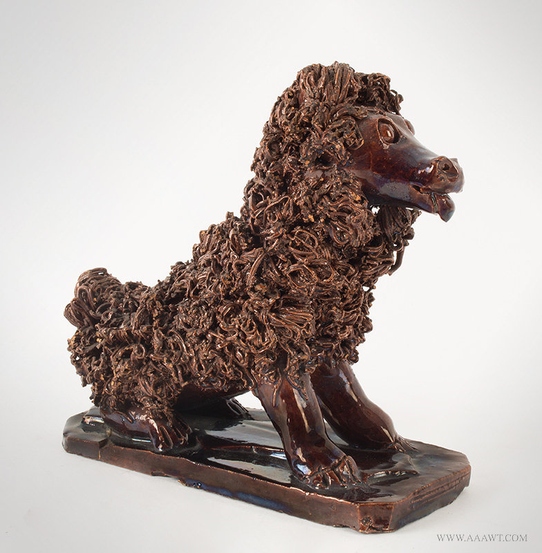 Antique Seated Redware Dog attributed to Anthony Weis Bacher, Pennsylvania, Ciarca 1855 to 1885, angle view 2