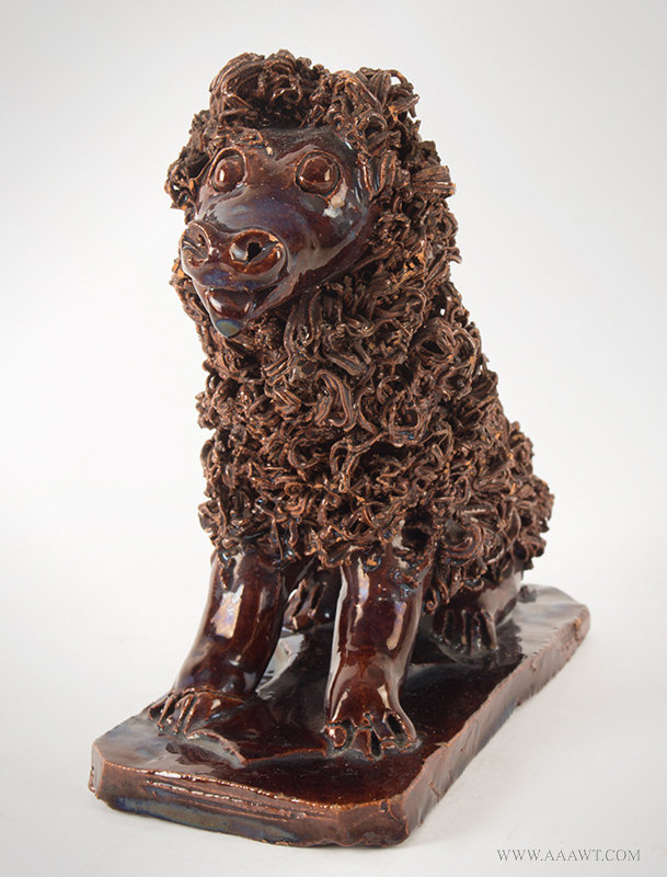 Antique Seated Redware Dog attributed to Anthony Weis Bacher, Pennsylvania, Ciarca 1855 to 1885, front view