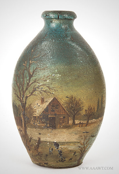 Antique Redware Flask with Painted Country Scene, Early 19th Century, entire view