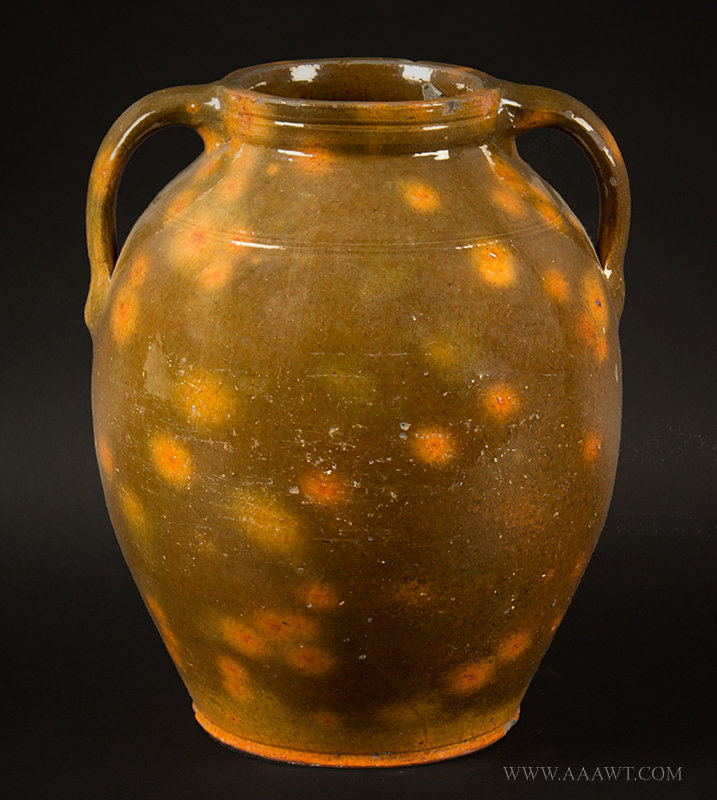 Antique Ovoid Redware Jar with Vertical Handles and Incised Shoulder, Circa 1820, side view 1