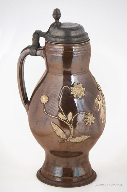 Antique Redware Spouted Jug/Pitcher with Tooled Shoulder, Pennsylvania, 19th Century, entire view