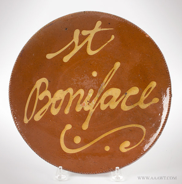 Antique Redware Plate with Coggled Rim, Inscribed St. Boniface, Circa 1820 to 1840, entire view