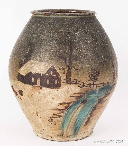 Antique Redware Vase with Painted Country Scene, Early 19th Century, view 1