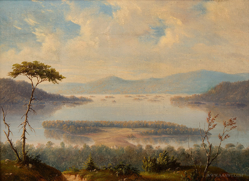 Antique Panoramic River Painting, Likely Upper Hudson River Valley, Signed Bilsing, 19th Century, close up view