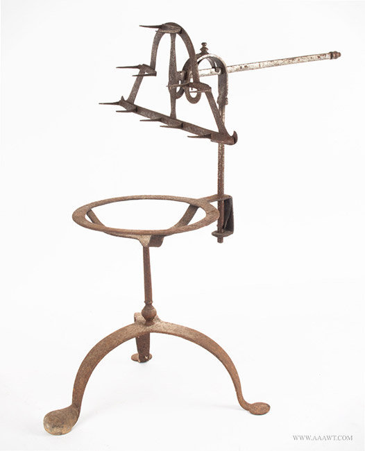 Antique Wrought Iron Bird Roasting Trivet Stand, 18th Century, angle view
