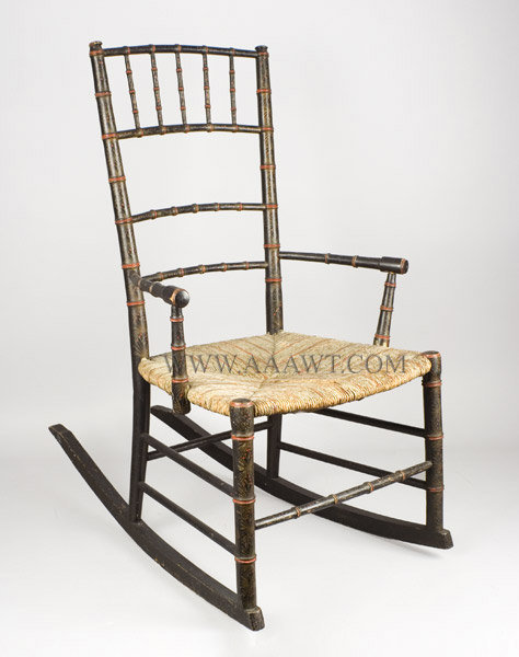 Rocking Chair, Windsor, Original Paint Decoration and painted Rush Seat  19th Century American Delicate bamboo turnings, painted rush seat, berry  and foliate ... - Antique Furniture_Chairs, Early, Country, American