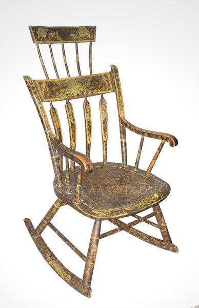 Rocking Chair, Comb Back, Original Paint and Paint Decoration New England Circa 1825, entire view