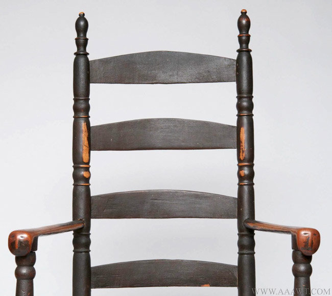 Antique Painted Ladder Back Rocking Armchair with Effigy Carved Handholds  in Original Paint, 18th Century - Antique Furniture_Chairs, Early, Country, American