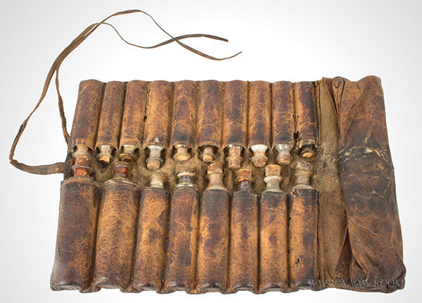 Antique Traveling Apothecary, Leather Rollup with 18 Blown Glass Bottles Anonymous Maker, Early, entire view