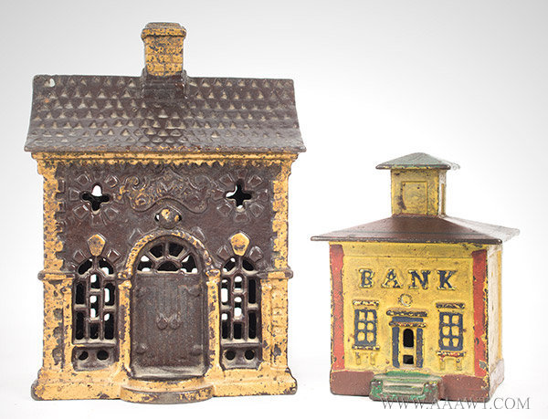 Antique Banks, Still Banks, Cast Iron, Roof, Cupola, group view
