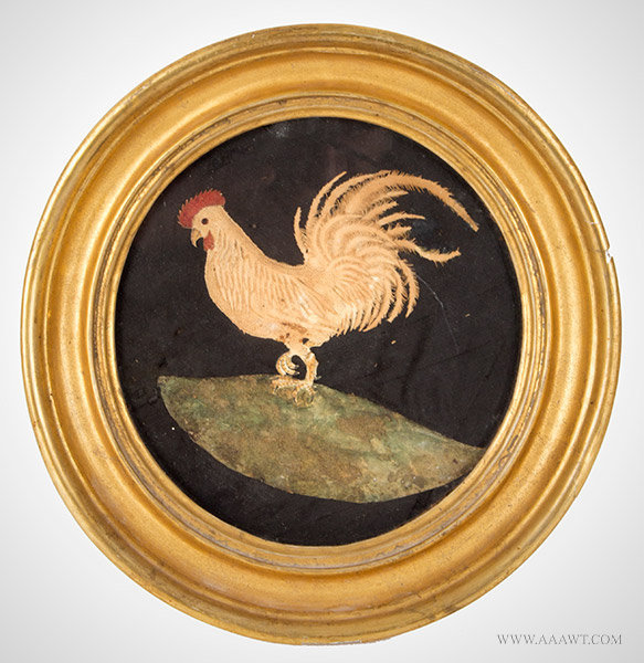 Pin Prick, Watercolor, Scissor Picture, Rooster, Scherenschnitte Silhouette  Anonymous, Circa 1800, entire view