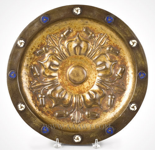 Rosewater Dish, Brass and Enameled Disks  Dinant  Circa 1470, entire view