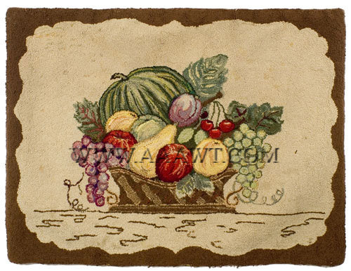 Antique Hooked Rug, Fruit Filled Basket, Pearl McGown Design, entire view