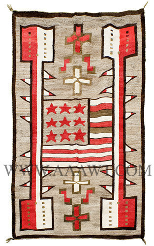 Antique Navajo Weaving, Blanket Rug, American Flag Design, Entire View