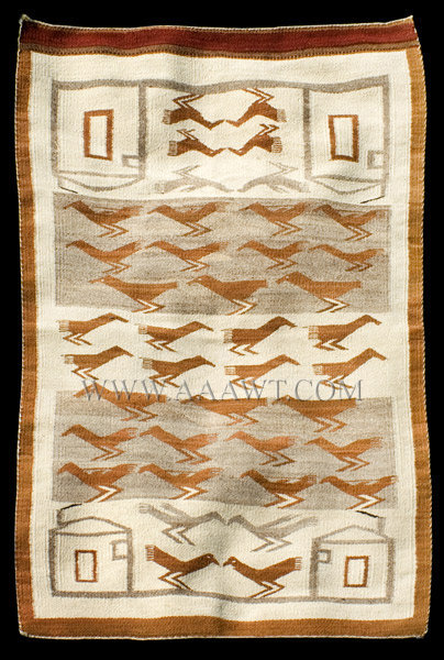 Antique Navajo Weaving Blanket, Bird Messengers and Adobes, Circa 1930, entire view