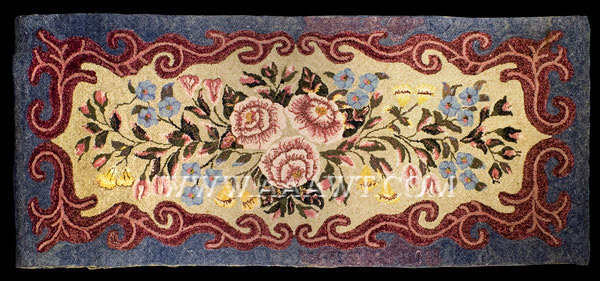 Antique Hooked Rug, Pink Rose Center Medallion, Pearl McGown Design, entire view