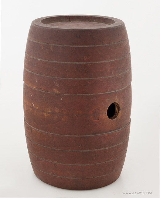 Antique Treen Rundlet/Rum Keg, Original Red Surface, New England, 18th Century, angle view