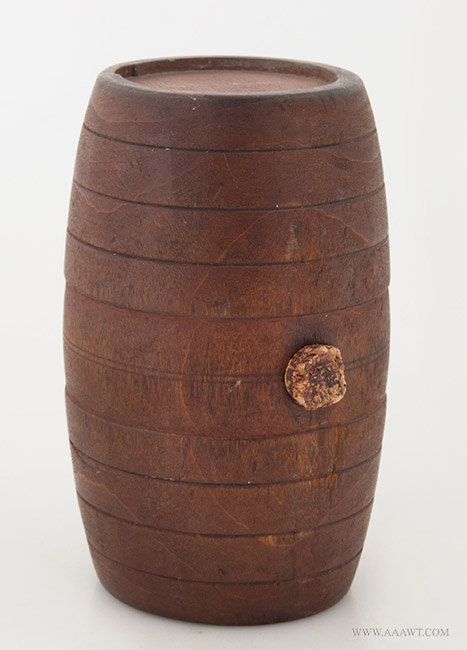 Antique Treen Rundlet/Rum Cask, Original Red Surface, New England, 18th Century, angle view