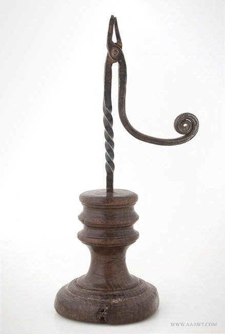 Antique Rush Light with Twistwork Stem and Ring Turned Base, 18th Century, entire view 1