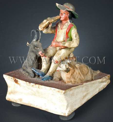 Antique Squeak Toy, Boy with Animals, 19th Century, angle view
