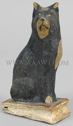 Antique Squeak Toy, Seated Dog, Black Paint, 19th Century, angle view