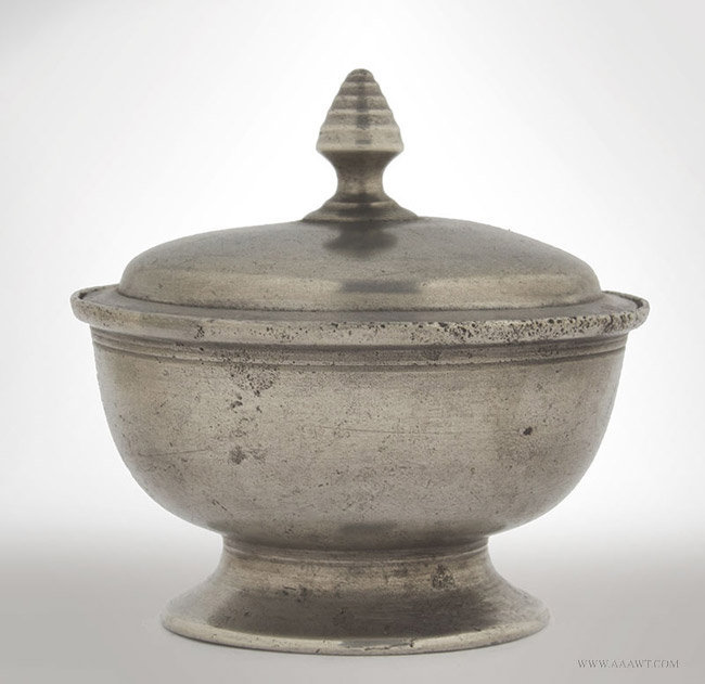 Antique Pewter Lidded Salt, American, 19th Century, entire view