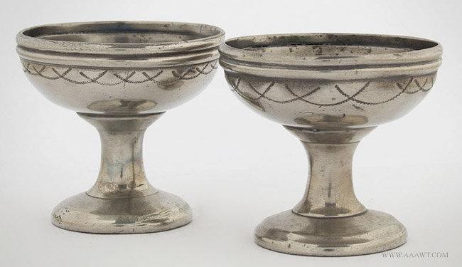 Antique Pair of Pewter Pedestal Salts, Circa 1790, entire view